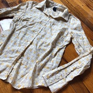 GAP Yellow Floral Button Down Cuff Top Collared